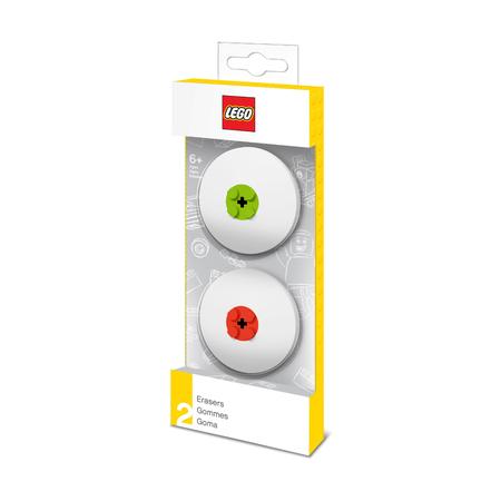 Набор ластиков Lego, красный и лайм, 2 шт.