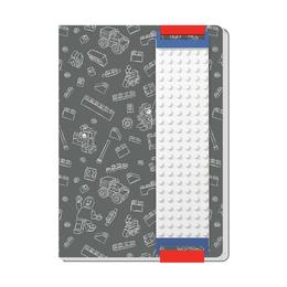 Книга для записей Lego с закладкой, серая, 96 листов в линейку