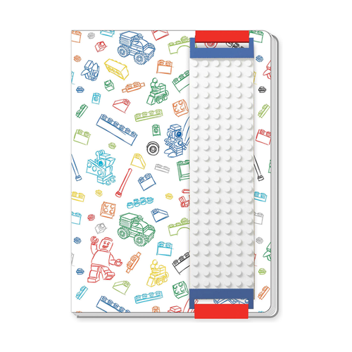 Книга для записей Lego с закладкой, белая, 96 листов в линейку