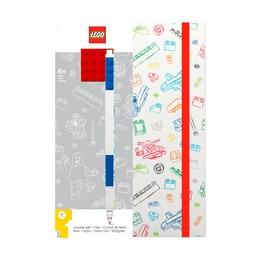 Блокнот с резинкой Lego с ручкой и линейкой, 96 листов в линейку