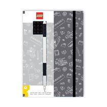 Блокнот Lego с черной гелевой ручкой, черно-серая