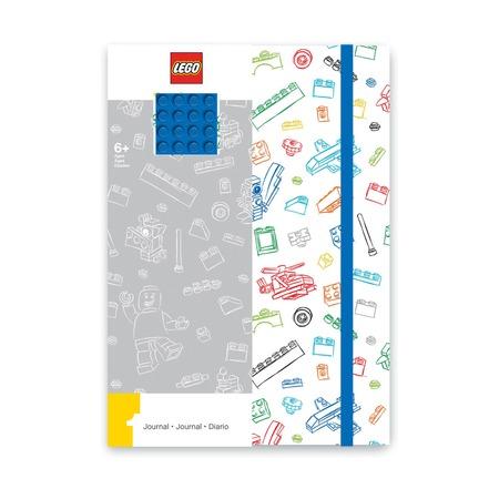 Блокнот с резинкой Lego, сине-белый, 96 листов в линейку
