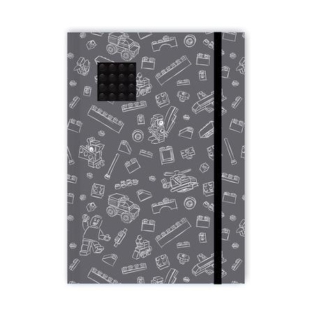 Блокнот с резинкой Lego, черно-серый, 96 листов в линейку