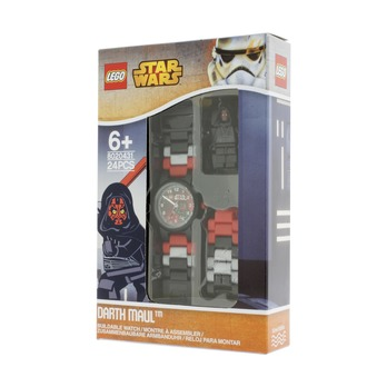 Часы наручные Lego Star Wars с минифигурой Darth Maul, на ремешке